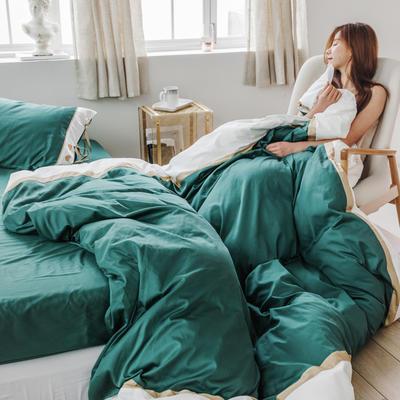 2019新款60長絨棉刺繡四件套 1.8m(6英尺)床 戴安娜(綠)