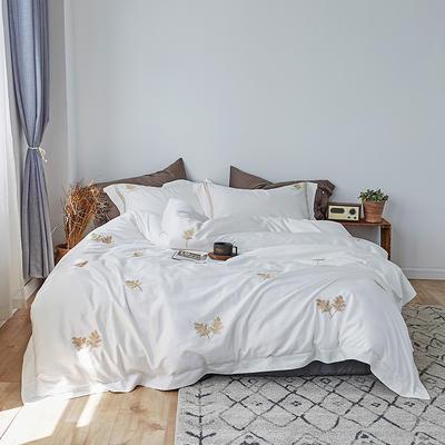 2019新款60長絨棉刺繡四件套 1.8m(6英尺)床 黃金葉(白)