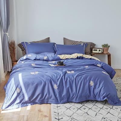 2019新款60長絨棉刺繡四件套 1.8m(6英尺)床 黃金葉(蘭)