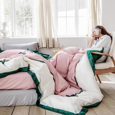 2019新款60長絨棉刺繡四件套 1.8m(6英尺)床 卡布奇諾(綠條)