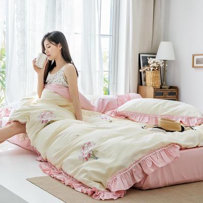 2019新款60長絨棉刺繡四件套 1.5m(5英尺)床 手捧花 (黃)