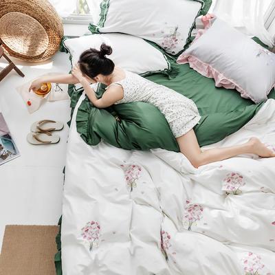 2019新款60長絨棉刺繡四件套 1.5m(5英尺)床 手捧花 (墨綠)