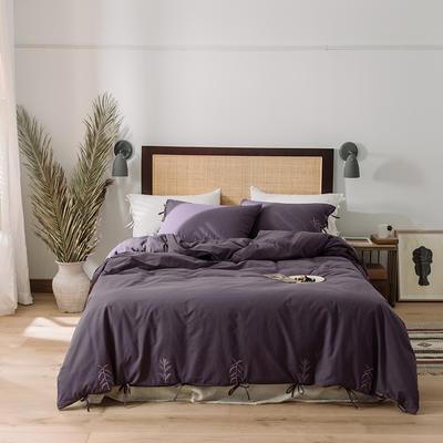 2020新款水洗棉刺繡床單款系列 1.5m床單款四件套 綁帶花-黯紫