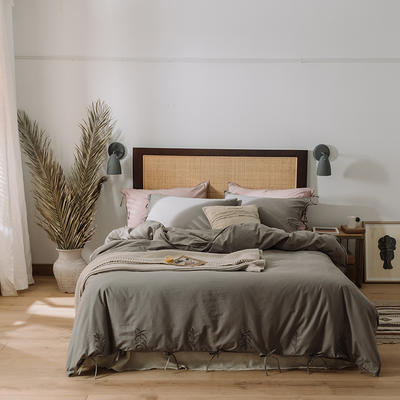 2020新款水洗棉刺繡床單款系列 1.5m床單款四件套 綁帶花-灰色