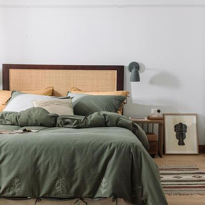 2020新款水洗棉刺繡床單款系列 1.5m床單款四件套 綁帶花-墨綠