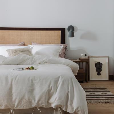 2020新款水洗棉刺繡床單款系列 1.5m床單款四件套 綁帶花-素白