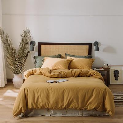 2020新款水洗棉刺繡床單款系列 1.5m床單款四件套 綁帶花-土黃
