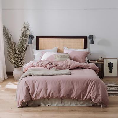 2020新款水洗棉刺繡床單款系列 1.5m床單款四件套 綁帶花-煙粉