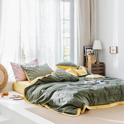 2020新款水洗棉刺繡床單款系列 1.5m床單款四件套 牛油果 綠