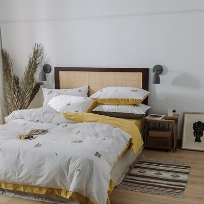 2020新款水洗棉刺繡床單款系列 1.5m床 田園小花 黃