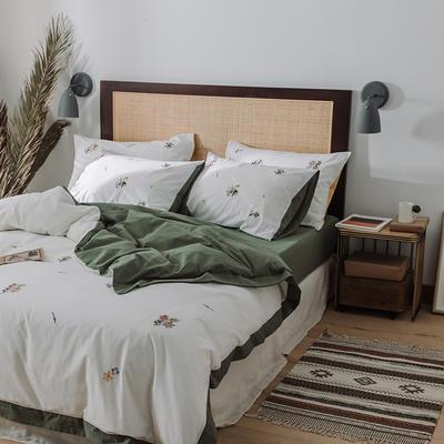 2020新款水洗棉刺繡床單款系列 1.5m床 田園小花 綠