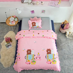2018新款卡通棉花被 120x150cm3.8斤 布朗熊粉色