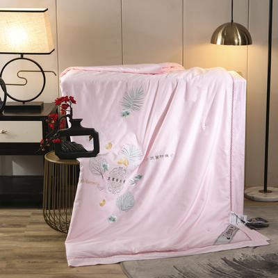 2020新款60s长绒棉绣花蚕丝被冬被被子被芯 200X230cm 粉色