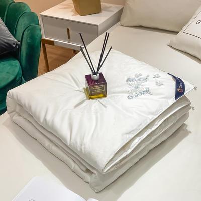 2020新款全棉提花蚕丝被冬被被子被芯 200X230cm 蝴蝶-白