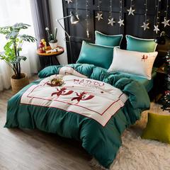 圣诞狂欢特供款四件套60s贡缎绣花套件织带流苏被套 1.5m-1.8m床 快乐假期