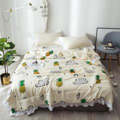 蔓可家纺   ins水洗棉空调被清新北欧风夏凉被荷叶边AB版夏被 180x220cm 爱尚菠萝
