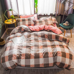 2018新款-双面水晶绒四件套 1.8m(6英尺)床笠款 淑女格