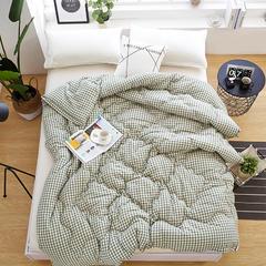 全棉色织水洗棉冬被 标准 草格
