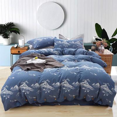 新60S贡缎色织水洗棉四件套 1.5m-1.8m(床) 江山如画-蓝