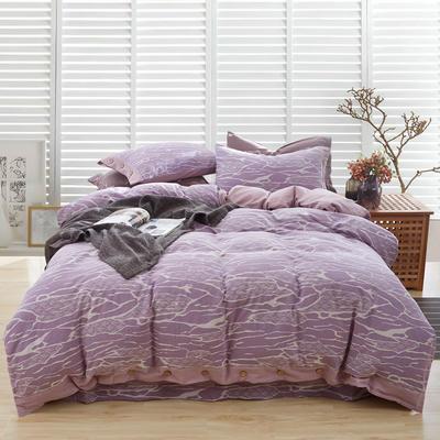 新60S贡缎色织水洗棉四件套 1.5m-1.8m(床) 行云流水-紫