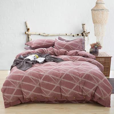 新60S贡缎色织水洗棉四件套 1.5m-1.8m(床) 品味格韵--朱红