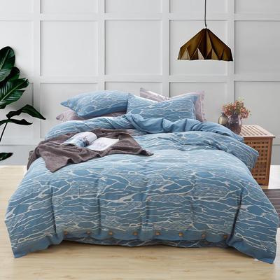 新60S贡缎色织水洗棉四件套 1.5m-1.8m(床) 行云流水--湖蓝