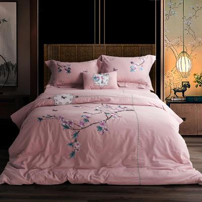 全棉色织水洗棉新中式绣花四件套 1.5m床单款 花暖钗情-粉
