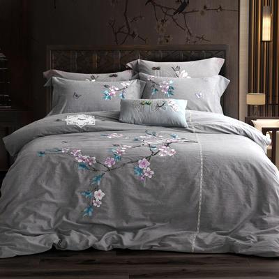 全棉色织水洗棉新中式绣花四件套 1.8m床单款 花暖钗情-灰