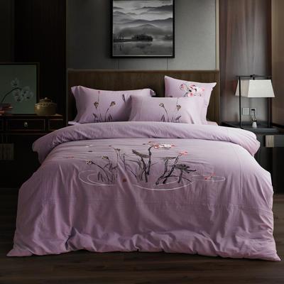 全棉色织水洗棉新中式绣花四件套 2.0m床单款 水墨涟漪-浅紫