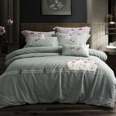 全棉色织水洗棉新中式绣花四件套 1.5m床单款 语兰-绿