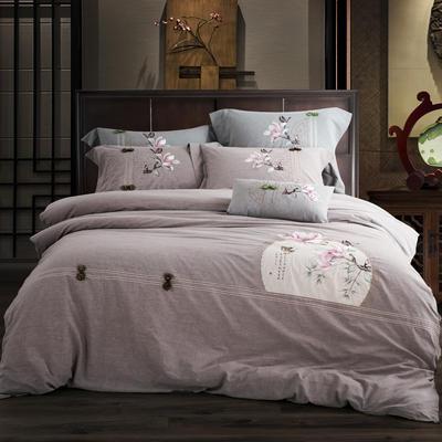 全棉色织水洗棉新中式绣花四件套 1.8m床单款 语兰-浅咖