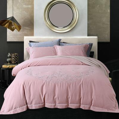 新款嘉宇斯色纺棉四件套 1.5m-1.8m床· 庭台阙语-粉