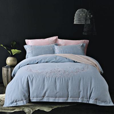 新款嘉宇斯色纺棉四件套 2.0m床 庭台阙语-浅蓝