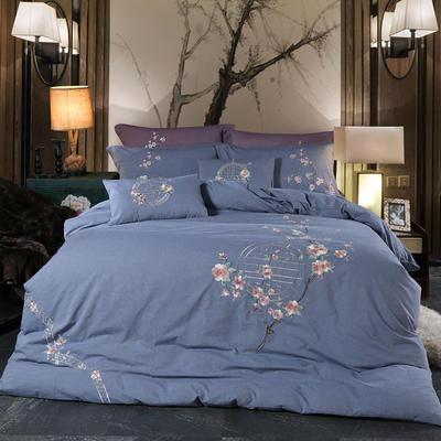 新款-鸟语花香四件套 1.5m(5英尺)床 鸟语花香-蓝
