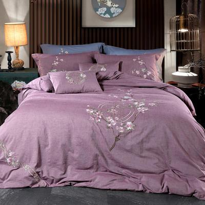 新款-鸟语花香四件套 抱枕35*50cm/含芯 鸟语花香-紫