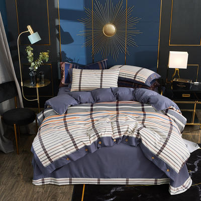 2019秋冬新品 -纯棉色织绒四件套纽扣款 床单款1.5m(5英尺)床 皇家风范