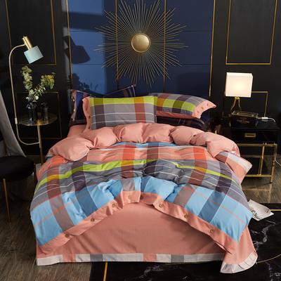 2019秋冬新品 -纯棉色织绒四件套纽扣款 床单款1.5m(5英尺)床 莱萨