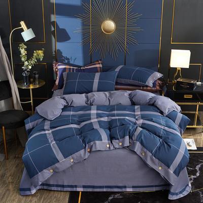 2019秋冬新品 -纯棉色织绒四件套纽扣款 床单款1.5m(5英尺)床 蓝色探戈