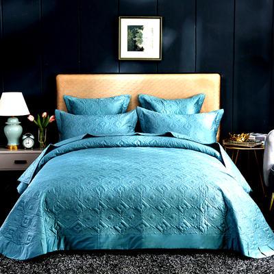 2020秋冬新品   极柔长绒棉抑菌绗缝床盖三件套 1.8m(6英尺)床三件套 午夜蓝