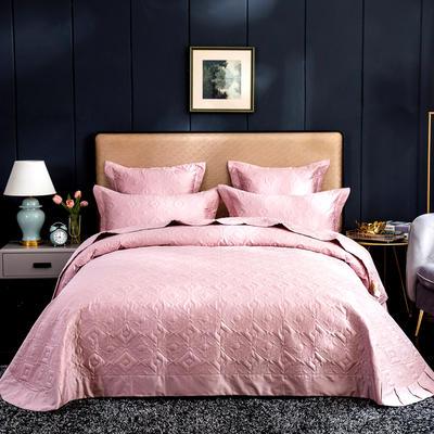 2020秋冬新品   极柔长绒棉抑菌绗缝床盖三件套 1.8m(6英尺)床三件套 豆沙粉