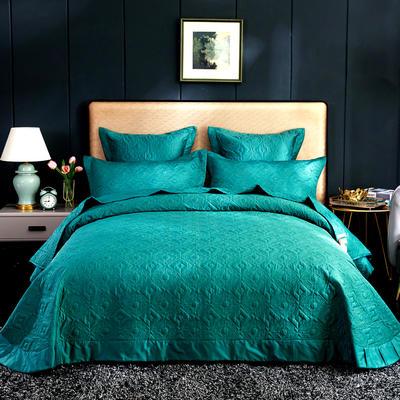 2020秋冬新品   极柔长绒棉抑菌绗缝床盖三件套 1.8m(6英尺)床三件套 祖母绿