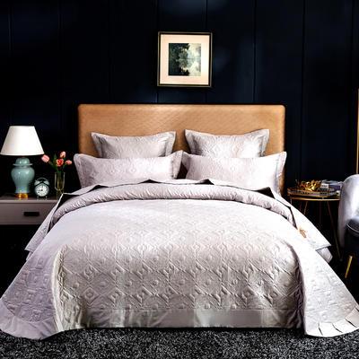 2020秋冬新品   极柔长绒棉抑菌绗缝床盖三件套 1.8m(6英尺)床三件套 浅银灰