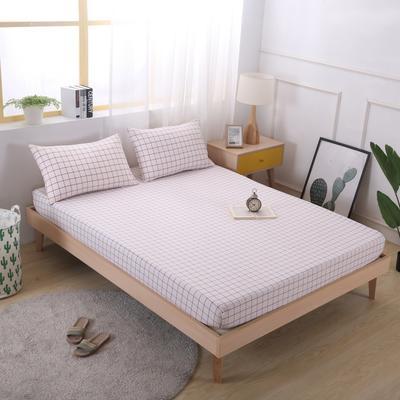 2020新款水洗棉单品格子床笠 适用于15-25cm之内的床垫 90X200+25 初春