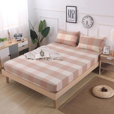 2019新款水洗棉单品格子床笠 适用于15-25cm之内的床垫 90X200+25 粉大格