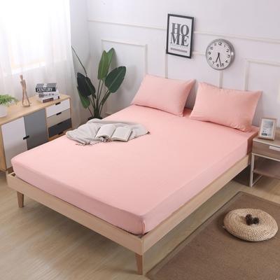 2019新款水洗棉单品格子床笠 适用于15-25cm之内的床垫 90X200+25 粉细条