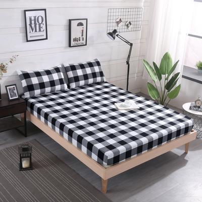 2019新款水洗棉单品格子床笠 适用于15-25cm之内的床垫 90X200+25 黑大格