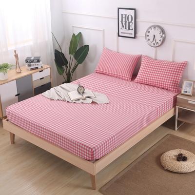 2019新款水洗棉单品格子床笠 适用于15-25cm之内的床垫 90X200+25 渐变粉格
