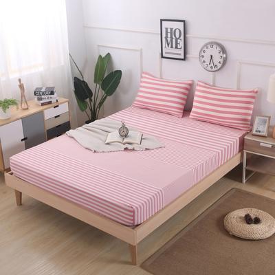 2019新款水洗棉单品格子床笠 适用于15-25cm之内的床垫 90X200+25 渐变粉条