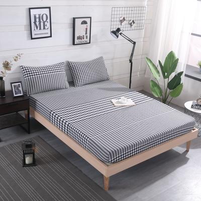 2019新款水洗棉单品格子床笠 适用于15-25cm之内的床垫 90X200+25 渐变黑格