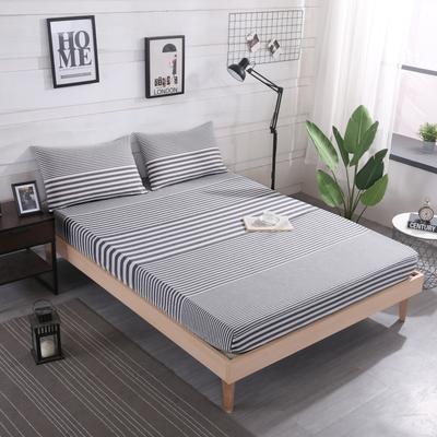 2019新款水洗棉单品格子床笠 适用于15-25cm之内的床垫 90X200+25 渐变灰条